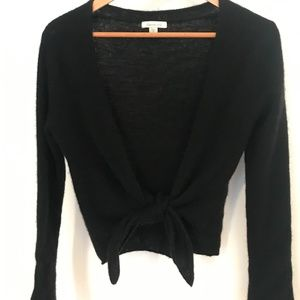 Garnet Hill Black 100% Cashmere tie front cardigan Size Small